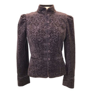LOFT Victorian Velvet Burnout Military Jacket 6